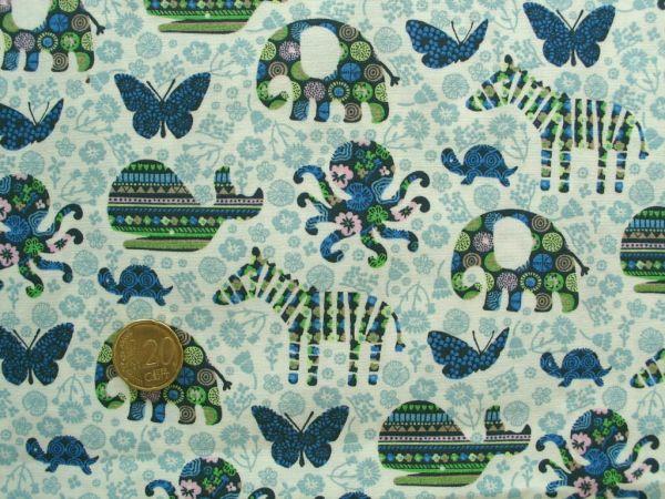 Hilco - Baumwollpopeline Fauna Fantasia, blau