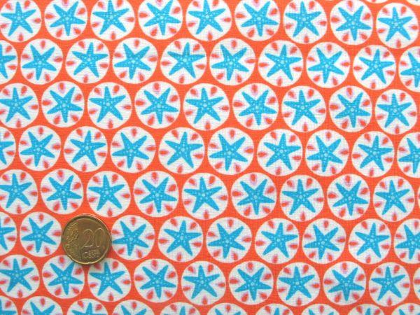 Hilco - Stretch-Jersey Little Seastars, orange-blau