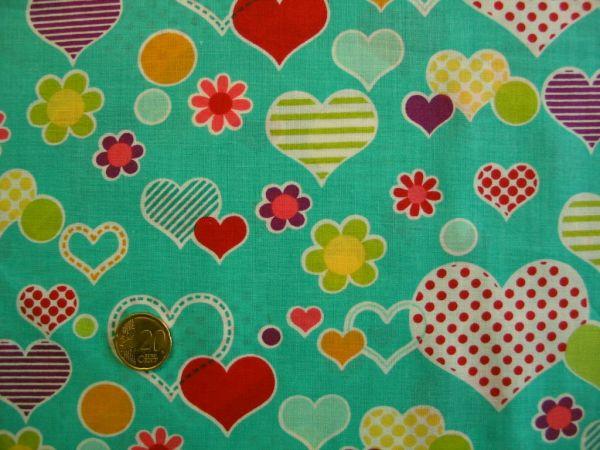 Hilco - Baumwolldruck Spring Love, türkisgrün