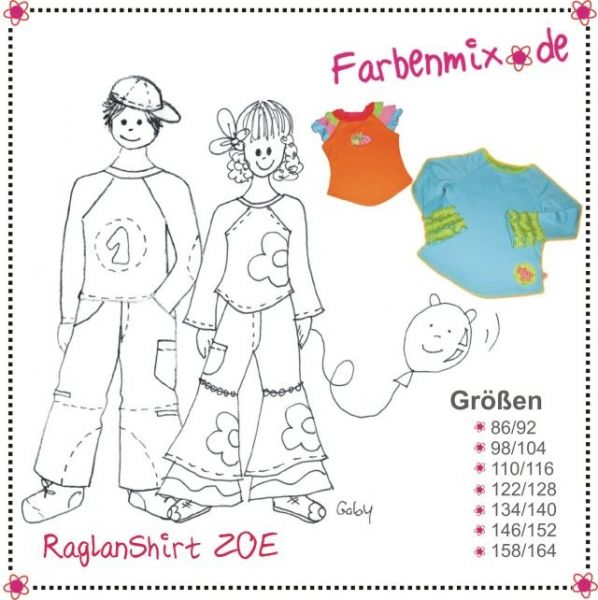 Farbenmix - Raglan-Shirt Zoe, Schnittmuster