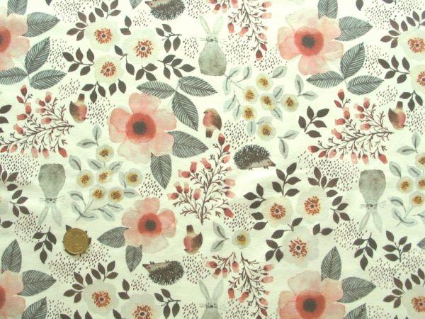 Hilco - Stretch-Jersey Romance Blossom, ecru-apricot
