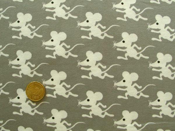 Hilco - Stretch-Jersey Mouse Run, beigebraun, Rest 85cm