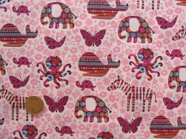 Hilco - Baumwollpopeline Fauna Fantasia, rosa