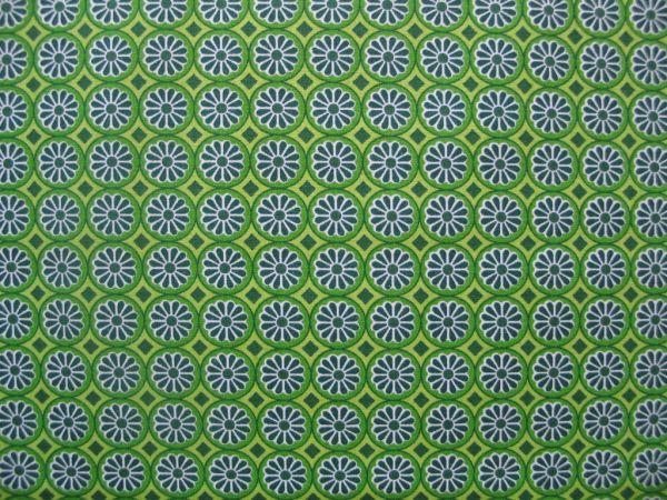 Hilco - Hilde Ornamentdruck Kreise mit Blüten, dunkelg.-hellgrün