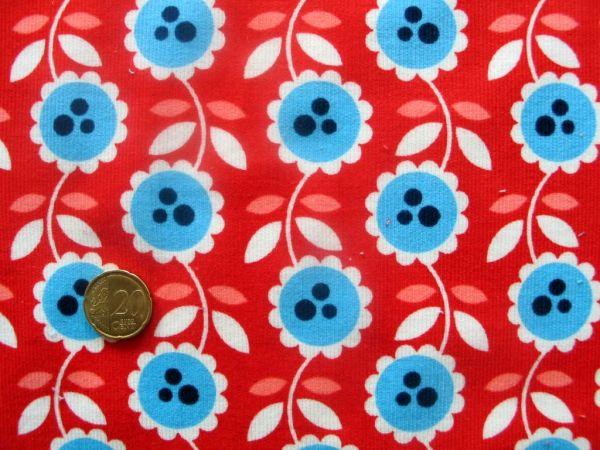 Hamburger Liebe - Babycord Lovely Flowers, rot-hellblau