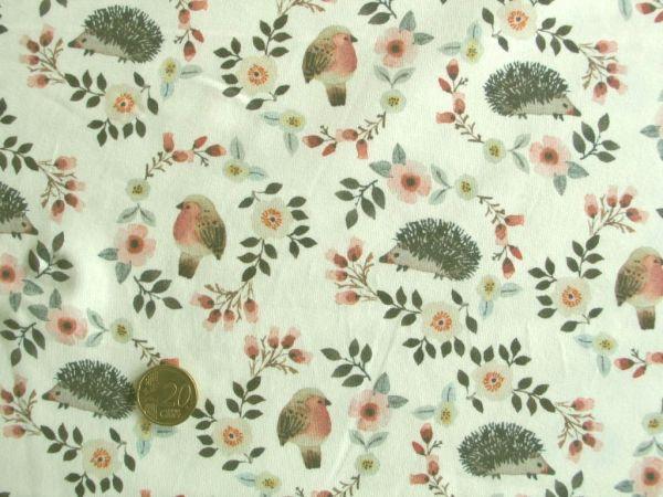Hilco - Stretch-Jersey Romance Blossom,ecru