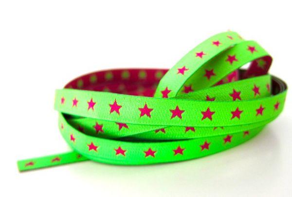 Farbenmix - Schmales Sternchenband, neongrün-pink