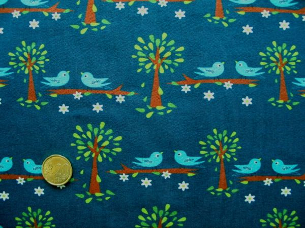 Hilco - Stretch-Sweat Singing Birds, jeansblau, Rest 56cm