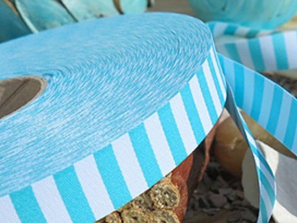 Farbenmix - Ringelband, aqua-weiß