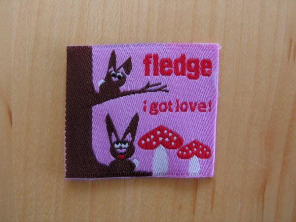 Farbenmix - Etikett mit Hasen, fledge, i got love!, rosa