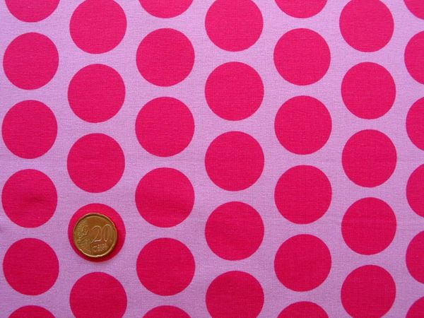 Hilco - Stretch-Jersey Big Dots, rosa-pink, Reststück 67cm