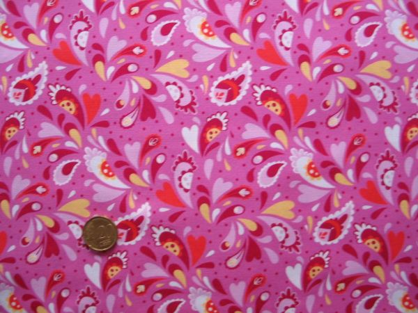 Hilco - Baumwollpopeline Mini Paisley, pink