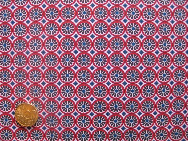 Hilco - Hilde Kreise mit Blüten, braun-rot, Reststück 84cm