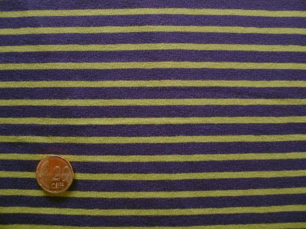 Hilco - Streifenjersey Campan, pflaume-apfelgrün, Rest 31cm