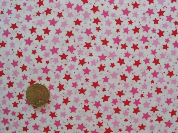 Hilco - Baumwollpopeline Little Stella, rot, Rest 82cm
