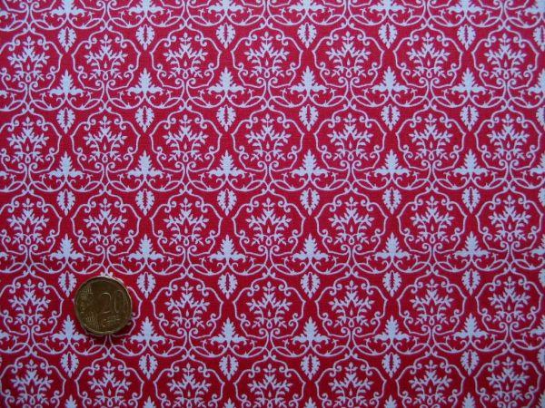 Hilco - Hilde Ornamentdruck, tomatenrot-weiß