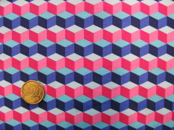 Hamburger Liebe - BW Popeline Hula Square, blau-pink