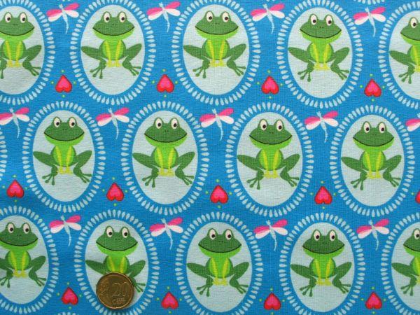 Hilco - Stretch-Jersey Froggy, blau
