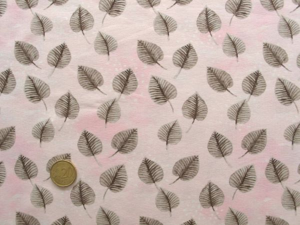 Hilco - Stretch-Jersey Beaver Leaves, rosa