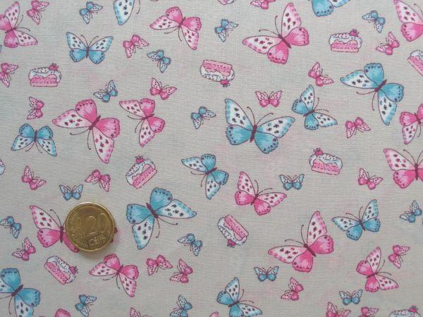 Hilco - Baumwolldruck Borboleta, rosa-ecru, Reststück 47cm