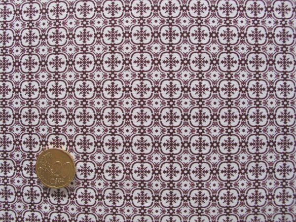 Hilco - Hilde Ornamentdruck, dunkles weinrot-weiß