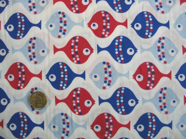 Hilco - Baumwollpopeline Kid`s Fish, blau-rot