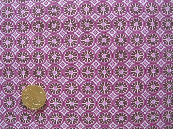 Hilco - Hilde Ornamentdruck Kreise mit Blüten, beere-rosa
