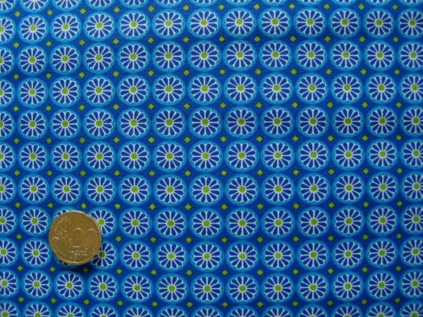 Hilco - Hilde Ornamentdruck Kreise mit Blüten, türkis-blau