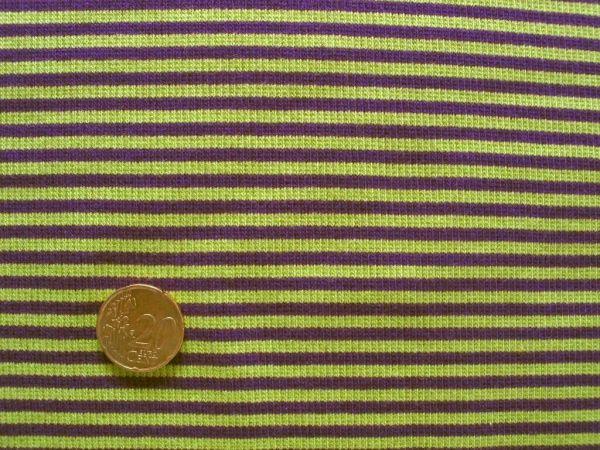 Hilco - Ringelbündchen, lila-apfelgrün, Stoffstück