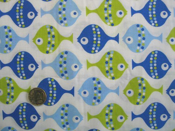 Hilco - Baumwollpopeline Kid`s Fish, blau-grün, Rest 72cm
