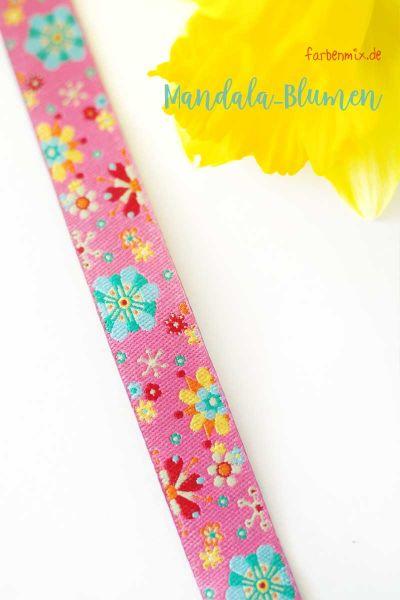 Farbenmix - Mandalablumen, pink, Webband