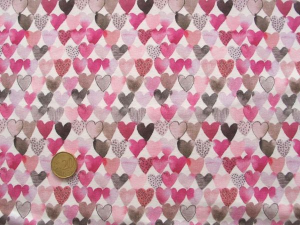 Hilco - Stretch-Jersey Otter Hearts, rosa-pink