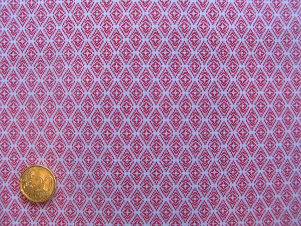 Hilco - Hilde Ornamentdruck, weiß-rot
