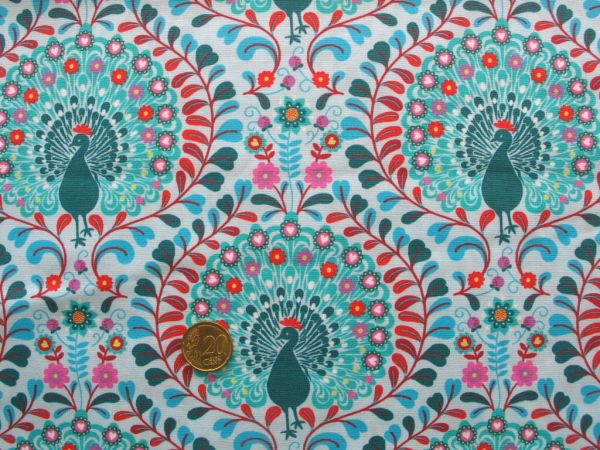 Hilco - Baumwollpopeline Summer Peacook türkis, Rest 87cm
