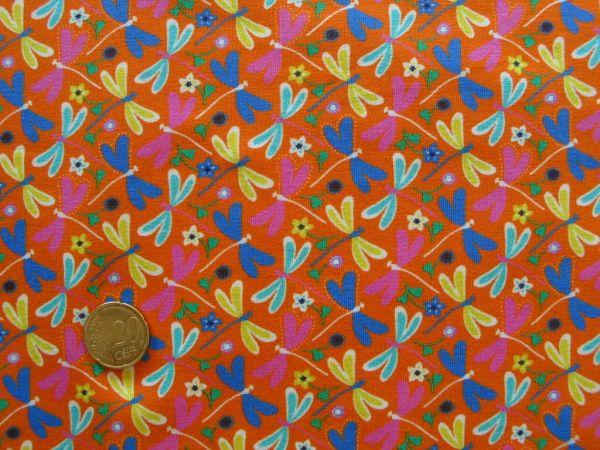 Hilco - Stretch-Jersey Libelule, orange, Reststück 98cm
