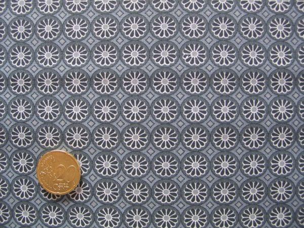 Hilco - Hilde Ornamentdruck Kreise mit Blüten, grau, Rest 87cm