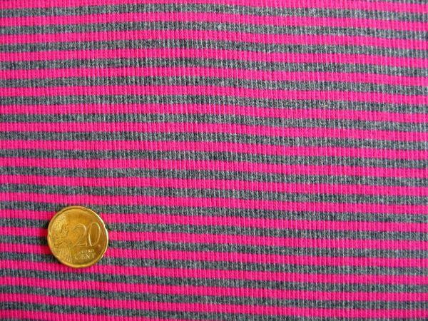 Hilco - Ringelbündchen, pink-anthrazit, Stoffstück