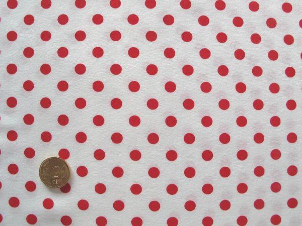 Hilco - Punkte Baumwollpopeline Topas, weiß-tomatenrot