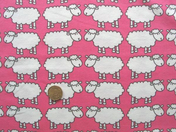 Hilco - Stretch-Jersey Schaf Günni, pink, Reststück 50cm