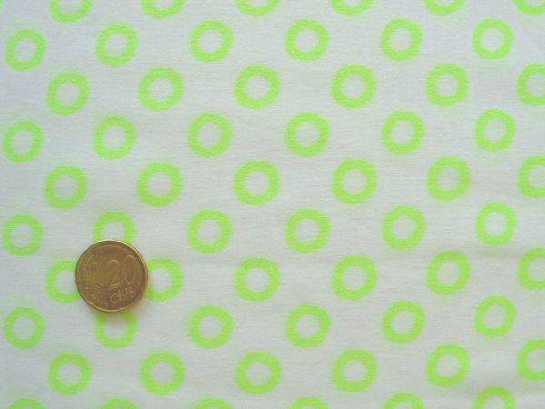 Hilco - Baumwollpopeline Neon Bops, weiß-neongelb