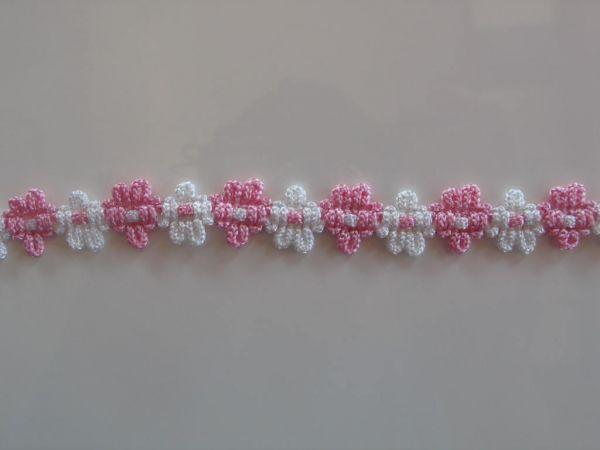 Gold-Zack - Blumenborte rose-weiß, 15mm
