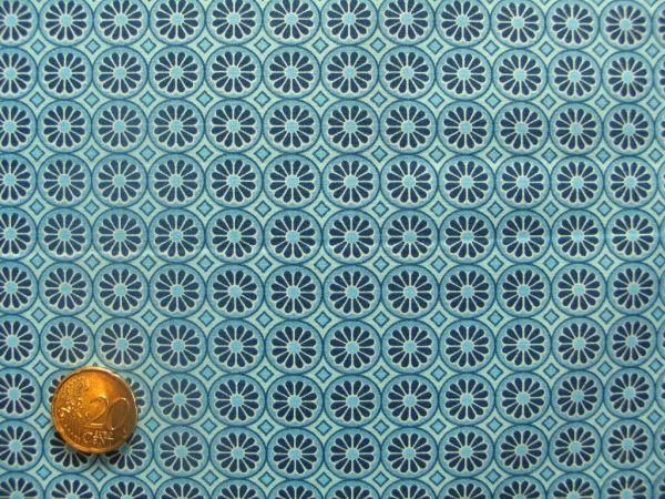Hilco - Hilde Ornamentdruck Kreise mit Blüten, blau