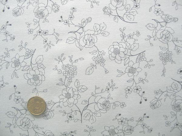 Hilco - Bauwollgabardin Winter flower, ecru