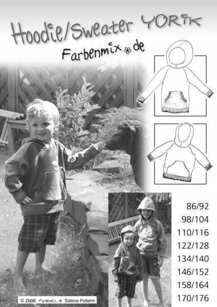 Farbenmix - YORIK Hoodie Sweater, Schnittmuster