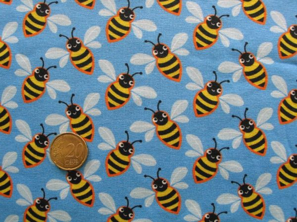 Hamburger Liebe - Stretchjersey Queenie Bee, blau