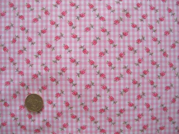 Hilco - Vichy-Karo mit Rosendruck, rosa-weiß, Rest 92cm