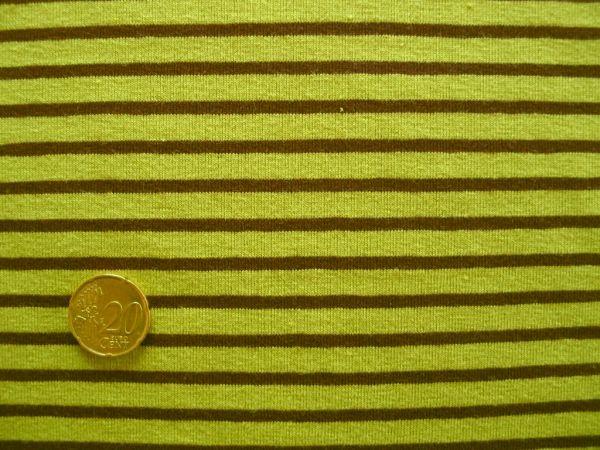 Hilco - Streifenjersey Campan, hellgrün-schoko, Rest 60cm