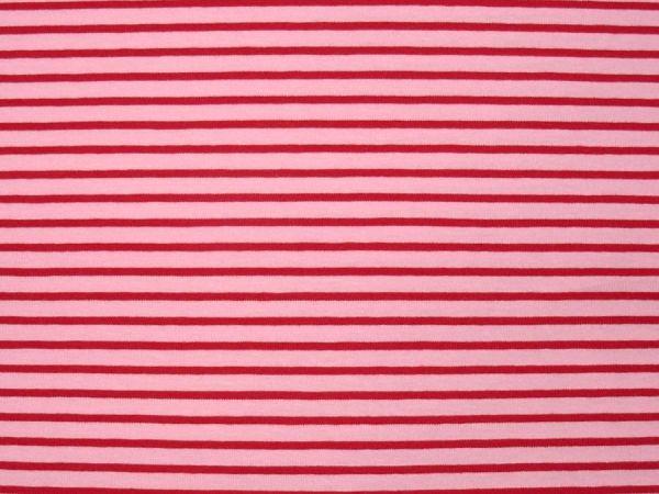 Hilco - Streifenjersey Campan, rosa-rot, Reststück 50cm
