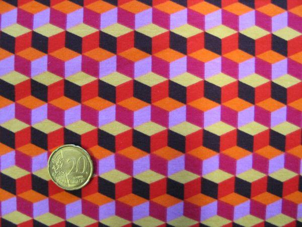 Hamburger Liebe - Stretchjersey Hula Square, braun-orange