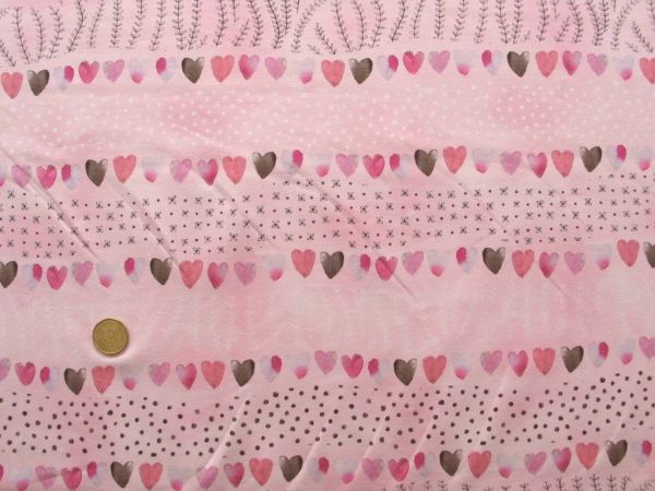 Hilco - Stretch-Jersey Otter Stripe, rosa